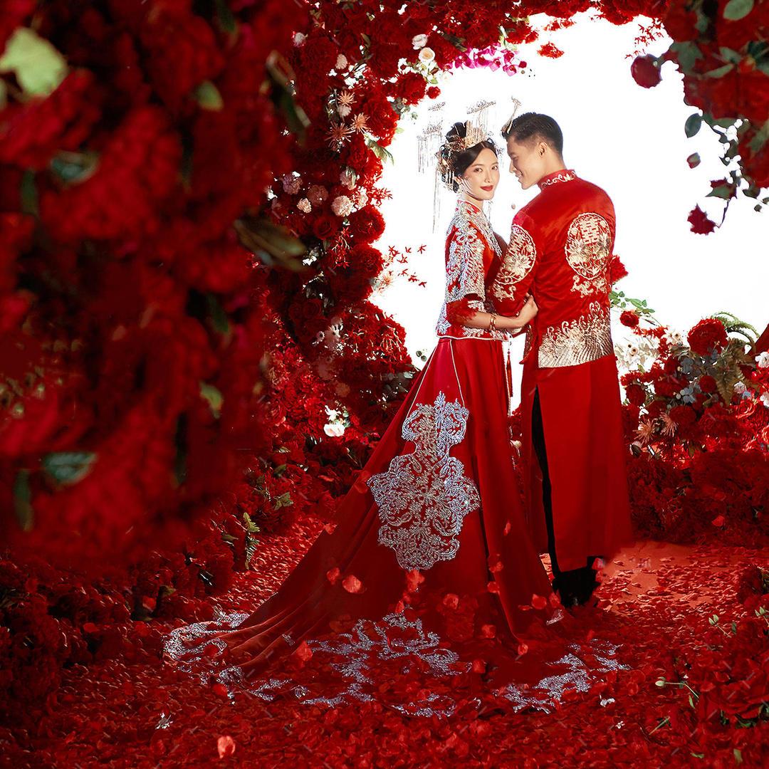 中式婚纱照+时尚国风+风格不限