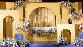 低预算一价包全场布置 高大上的姜黄蓝撞色婚礼