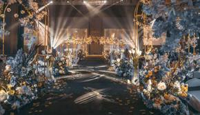 蓝色高级感婚礼主题/含四大金刚、舞美灯光