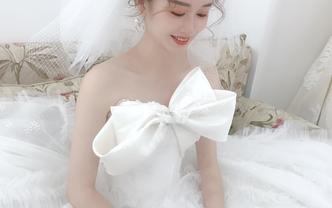 韩式立体蝴蝶结水晶主纱 新娘必选