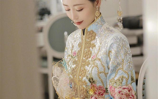 【3周年店庆】【海洋之谜】中式蓝色出门坐床马来服