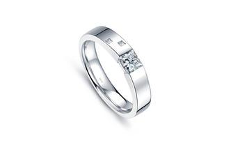 君子-白18K金钻石戒指