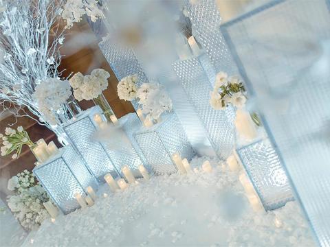 浅蓝 白冰雪 主题 婚礼