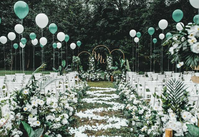 小预算/小森系清新白绿色户外草坪婚礼
