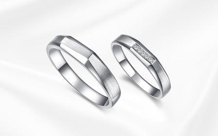 钻小娴-锦时-18K白金铂金定制情侣钻石结婚对戒