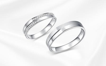 钻小娴-星晴-18K白金简约结婚情侣钻石对戒