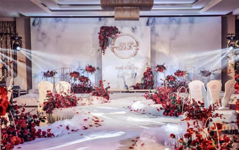 宫喜婚礼 简约红色大理石风格设计