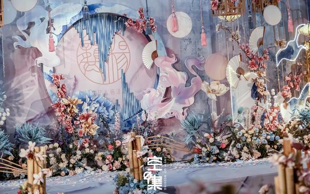 粉蓝色系新中式婚礼 花影匿