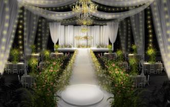 简约大气的白绿韩式婚礼,全场鲜花布置,含四大金刚
