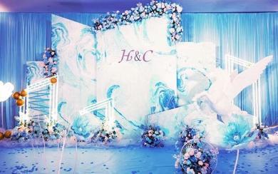 韩式浪漫唯美梦幻花海蓝白色婚礼