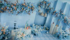 淡雅舒适度极简蓝色婚礼布置含四大