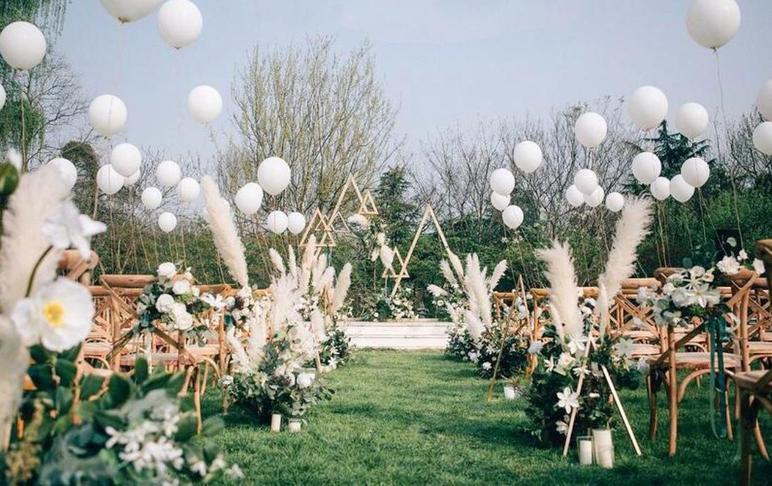 【觅境婚礼】白绿户外清新婚礼(可室内)春风与你