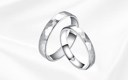 钻小娴-归途-18K白金简约低调情侣结婚钻石对戒