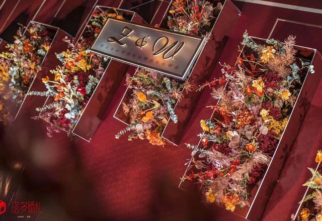 秋叶 红色网红花艺 创意婚礼