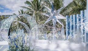 蓝白色系 海边婚礼