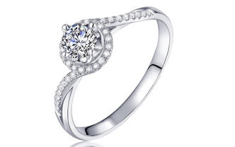 钻石海洋—见证—50分四爪群镶求婚结婚钻戒
