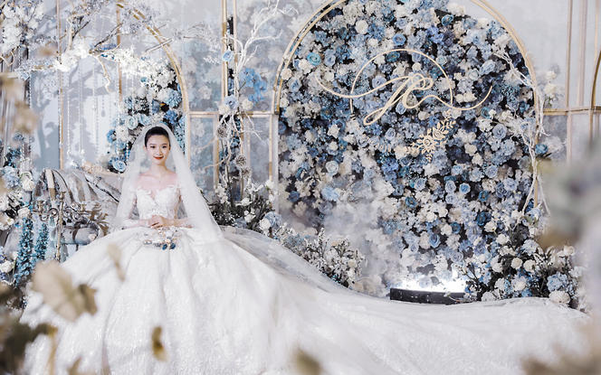唯美法式细腻线条蓝色浪漫婚礼