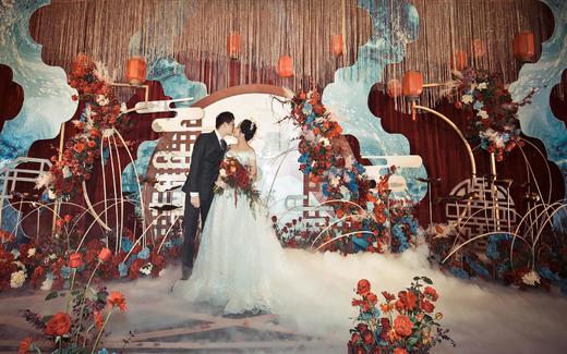 复古撞色新中式婚礼 夜雨