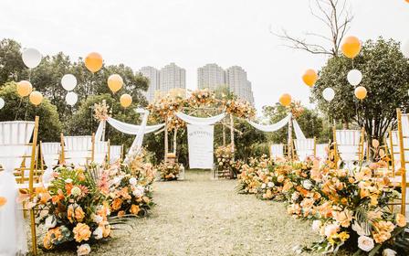 暖冬系列橙色小清新婚礼布置