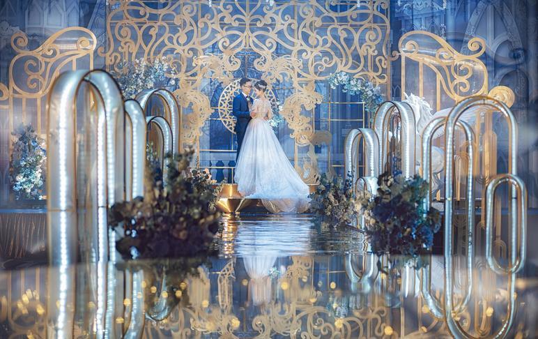 【19年大热】蓝金低调奢华超赞效果婚礼