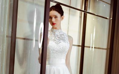 敬酒服 出门 回门丨轻奢复古小高领蕾丝缎面礼服