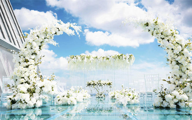【明星同款】天空云镜水台婚礼 一价全包