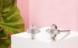 「闺蜜同款生日送礼」网红简约轻奢玫瑰金显钻石耳钉