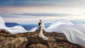 大连海景婚纱+12服装12造型+精修90张