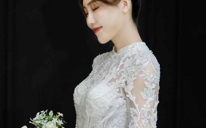 【新年新娘福利】简约梦幻一字肩拖尾纱