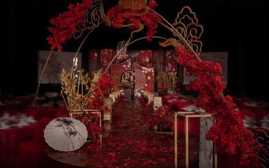 好时.创意红金中国风主题婚礼案例