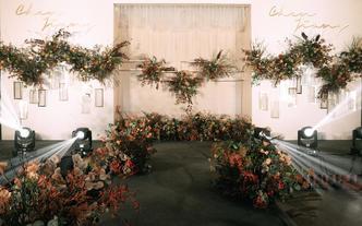 梦时光婚礼|【暖意】极简撞色花艺 金属造型婚礼