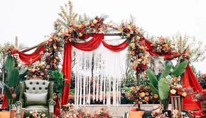 【晶莹婚礼】户外清新创意婚礼 红橙色系爆款