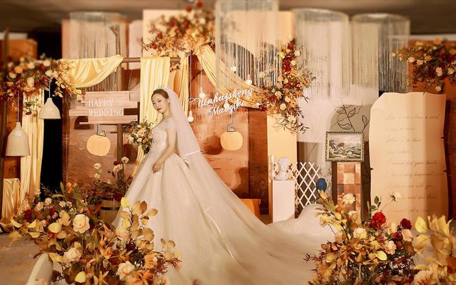 〖晶莹婚礼〗复古暖橘色 梦幻油画风高性价比婚礼