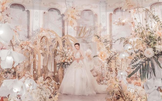 【伯妮】欧式香槟色浪漫婚礼 轻奢宫殿效果