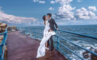【清凉夏日】打卡网红海景婚照+拍1套送3套