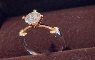 18k金80分钻石戒指明星款