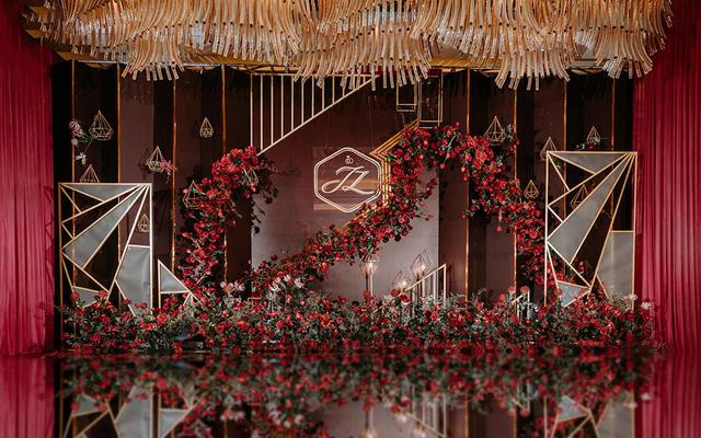 【梦梵婚礼企划】红金几何线条风格