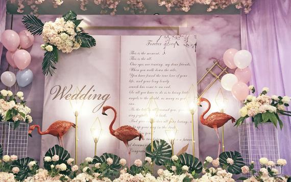 超值低预算温馨火烈鸟主题婚礼