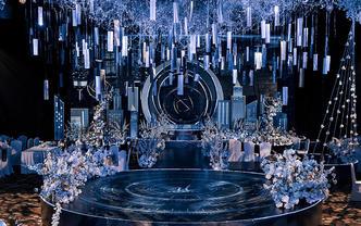 特价5折婚礼布置·蓝色梦幻创意寓意水晶吊顶亮闪
