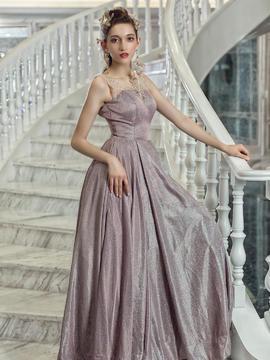 粉紫色亮片圆领双肩显瘦A字礼服