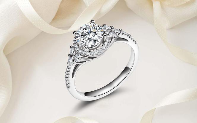 轻奢群镶求婚结婚显钻石戒托「初心相遇,心生涟漪」