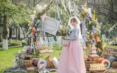 小清新甜美马卡龙色户外草坪婚礼 户外婚礼