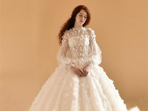 【小众爆款】高定奢华大拖尾+手绣镶钻中式+礼服