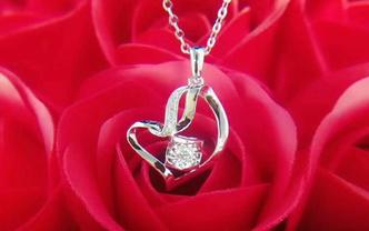 心动价爆款18k金钻石项链-爱心永恒款