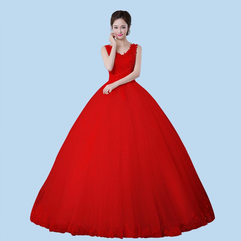 红婚纱_珊瑚红婚纱