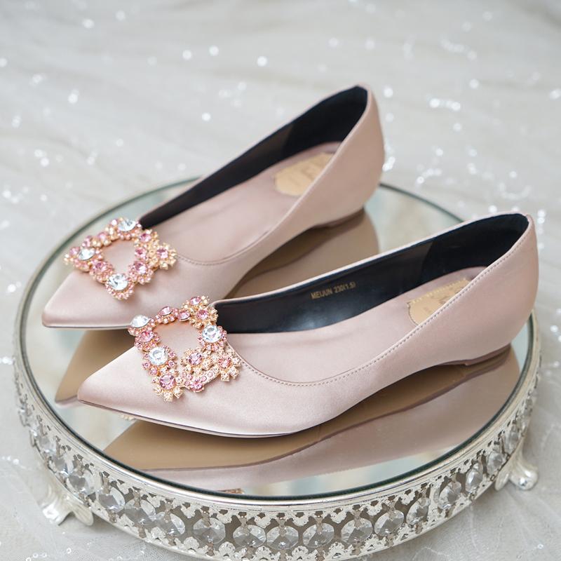 浅口平底方扣水晶伴娘婚鞋