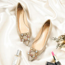 金色小羊皮方扣水晶平底婚鞋