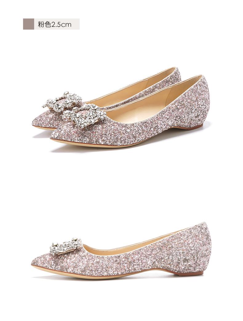 粉红色亮片方扣水晶低跟2.5CM婚鞋