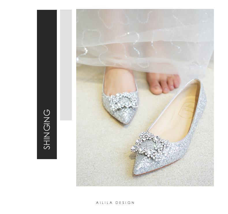 银色亮片方扣水晶低跟2.5CM婚鞋