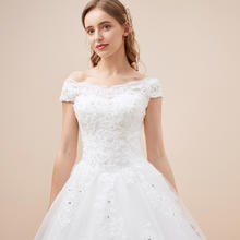《星空物语》蕾丝波浪精美刺绣显瘦一字肩齐地拖尾婚纱